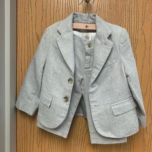 Toddler boy 2pc gray linen suit.
